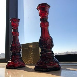 Ruby Red Glass Candlesticks, Cape Cod Collection